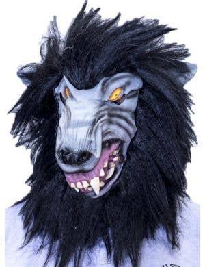 Big Bad Wolf Latex Halloween Mask with Black Fur