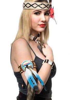 Deluxe American Indian Leather Arm Cuffs Costume Accessory Main Image