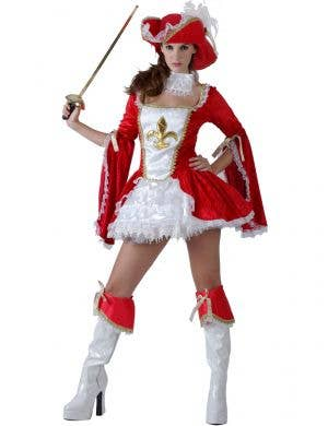 Women's Red and White Sexy Musketeer Fancy Dress Costume