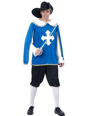 Blue Musketeer Fancy Dress Costume for Men