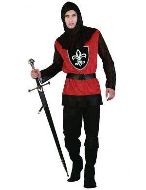 Men's Red and Black Medieval Knight Fancy Dress Costume