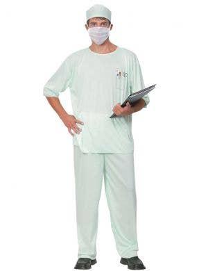 Green Surgical Scrubs Men's Doctor Uniform Costume
