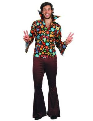 70s Floral Hippie Dress Up Costume For Men