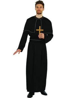 ADULT MEN/'S MONK PRIEST VICAR SHORT DARK HAIR BALD WIG  FANCY DRESS ACCESSORY