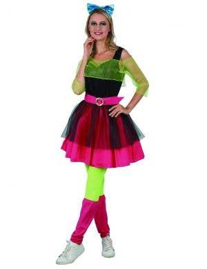 Neon Party Girl Women's 80s Dress Up Costume Main Image