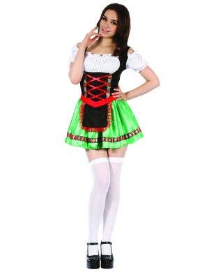 Green Beer Girl Sexy Oktoberfest Costume for Women Close Up Image