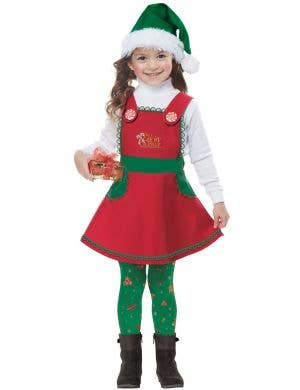 Girl's Christmas Elf In Charge Green And Red Holiday Fancy Dress Costume Main Image