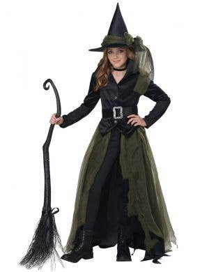 Teen Girl's Green Gothic Cool Witch Halloween Fancy Dress Costume Main Image