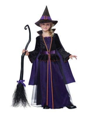 Girl's Deluxe Hocus Pocus Black and Purple Witch Halloween Costume Main Image