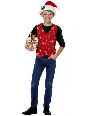 Holiday Red Kid's Christmas Costume Vest and Hat