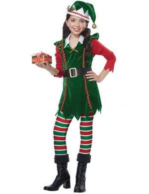 Festive Elf Girl's Christmas Fancy Dress Costume