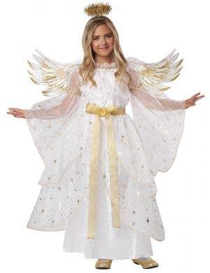 Girl's Deluxe White Starburst Angel Costume - Front Image