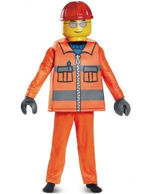 Boys Construction Worker Lego Man Costume - Main Image