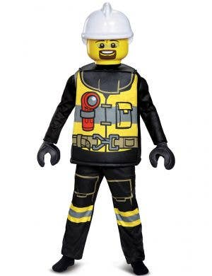 Boys Firefighter Lego Man Costume - Main Image
