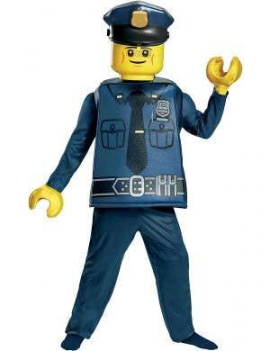 Boys Police Officer Lego Man Costume - Main Image
