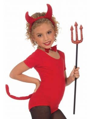 Girl's Red Devil Halloween Costume Accessory Set Front View
