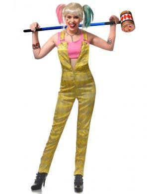 Teen Girl's Birds of Prey Harley Quinn Yellow Overalls Costume Main Image