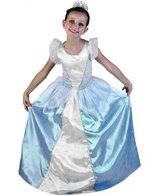 Blue Princess Girls Fairytale Dress Up Costume with Crown