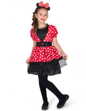 Red and White Polka Dot Minnie Mouse Style Girl's Costume