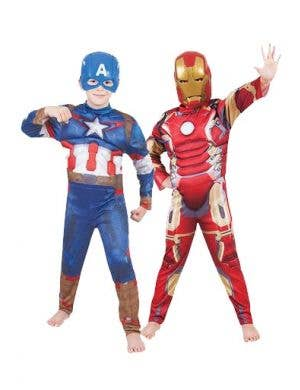 Reversible Kids Iron Man Captain America Avengers Costume Main Image