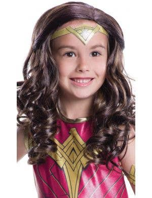 Justice League Girl's Wonder Woman Curly Brown Costume Wig
