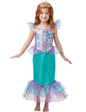 Girls Glitter Little Mermaid Ariel Costume - Front Image