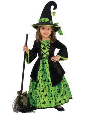 Girl's Green Witch Halloween Fancy Dress Costume