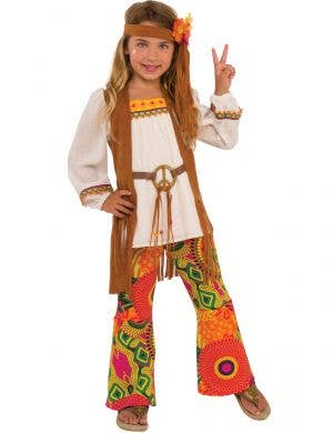 Girls 70s Hippie Costume - Main Image