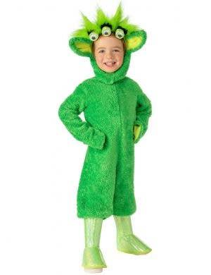 Fluffy Green Martian Alien Dress Up Costume for Kids