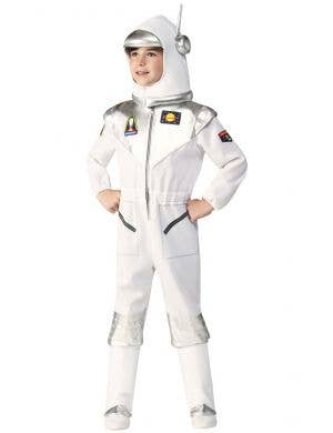 White and Silver Astronaut Boy's Space Suit Costume - Front Image