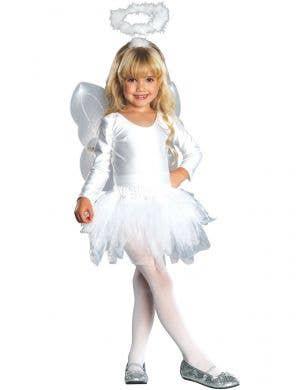 White Angel Fancy Dress Costume for Girls - Main Image