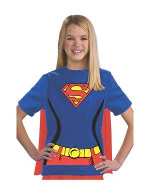 Supergirl Girls Costume T-shirt with Attached Cape