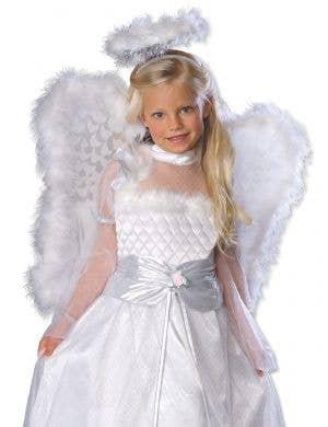 Rosebud Angel Girl's White Fancy Dress Costume