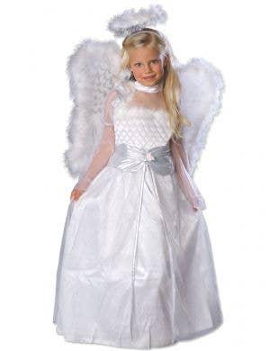 Girl's White Rosebud Angel Dress Up Costume - Main Image