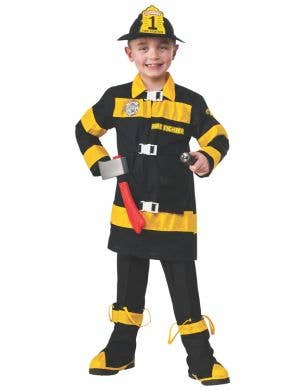 Firefighter Boy's Black And Yellow Fancy Dress Costume