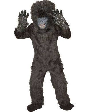 Kids Hairy Black Gorilla Animal Fancy Dress Costume