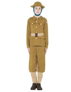Boys WW1 Army Boy Fancy Dress Costume Front View