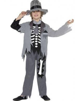 Boy's Grey Ghost Groom Skeleton Halloween Fancy Dress Front
