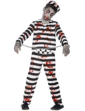 Boys Undead Convict Zombie Halloween Fancy Dress Costume Front Image