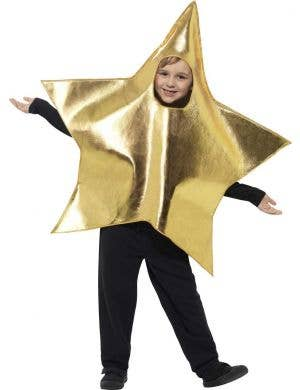 Kids Gold Christmas Star Fancy Dress Costume Main Image