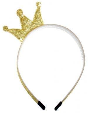 Kids Mini Gold Glitter Princess Crown on Headband
