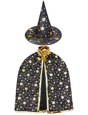 Kids Black and Gold Wizard Hat and Cape Set