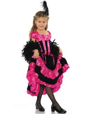 Girls Pink and Black Can Can Dancer Fancy Dress Costume