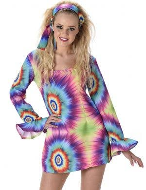 Groovy Rainbow Tie Dye Women's 70's Hippie Costume