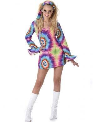 Short Rainbow Tie Dye Hippie Women's 1970's Fancy Dress Costume - Main Image