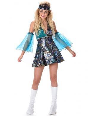 Metallic Rainbow Paisley Print Women's 70's Dress Up Costume - Main Image