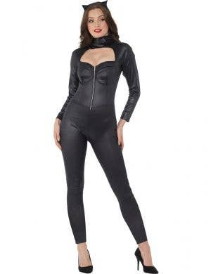 Sexy Black Wet Look Catwoman Catsuit Costume for Women - Main Image