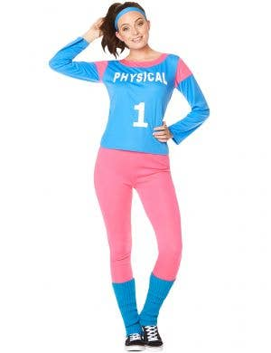 Pink and Blue 80s Workout Costume for Women - Main Image