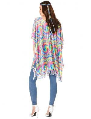Bohemian Hippie Women's Rainbow Tie Dye Costume Poncho