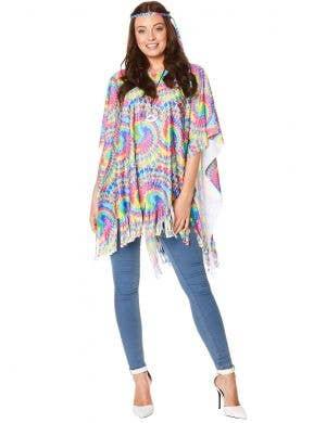 Rainbow Tie Dye 70s Hippie Costume Poncho for Women  - Main Image